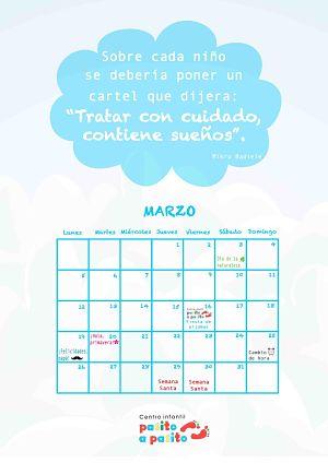 Centro infantil Pasito a Pasito León- Calendario marzo 2018