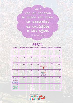 Centro infantil Pasito a Pasito - Calendario abril