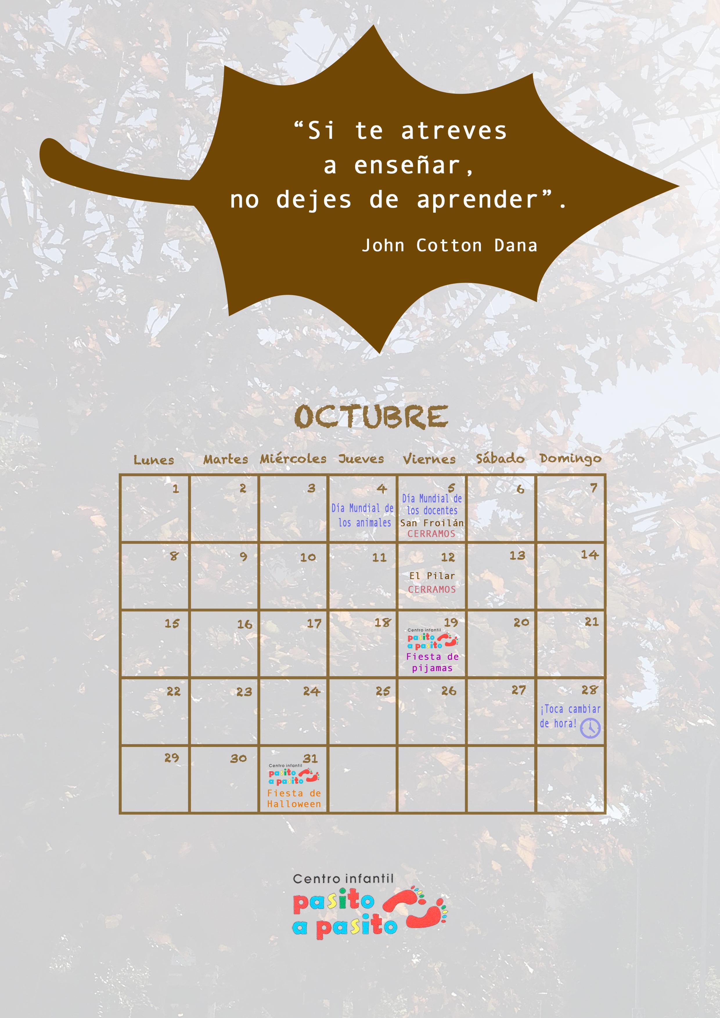 Calendario descargable de octubre 2018 - Centro infantil Pasito a Pasito León