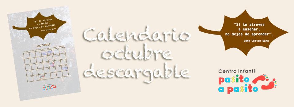 Calendario descargable de Octubre 2018- Centro infantil Pasito a Pasito